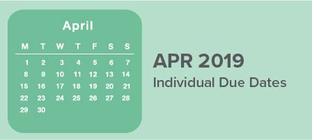 April 2019 Individual Due Dates | Hall of Taxes